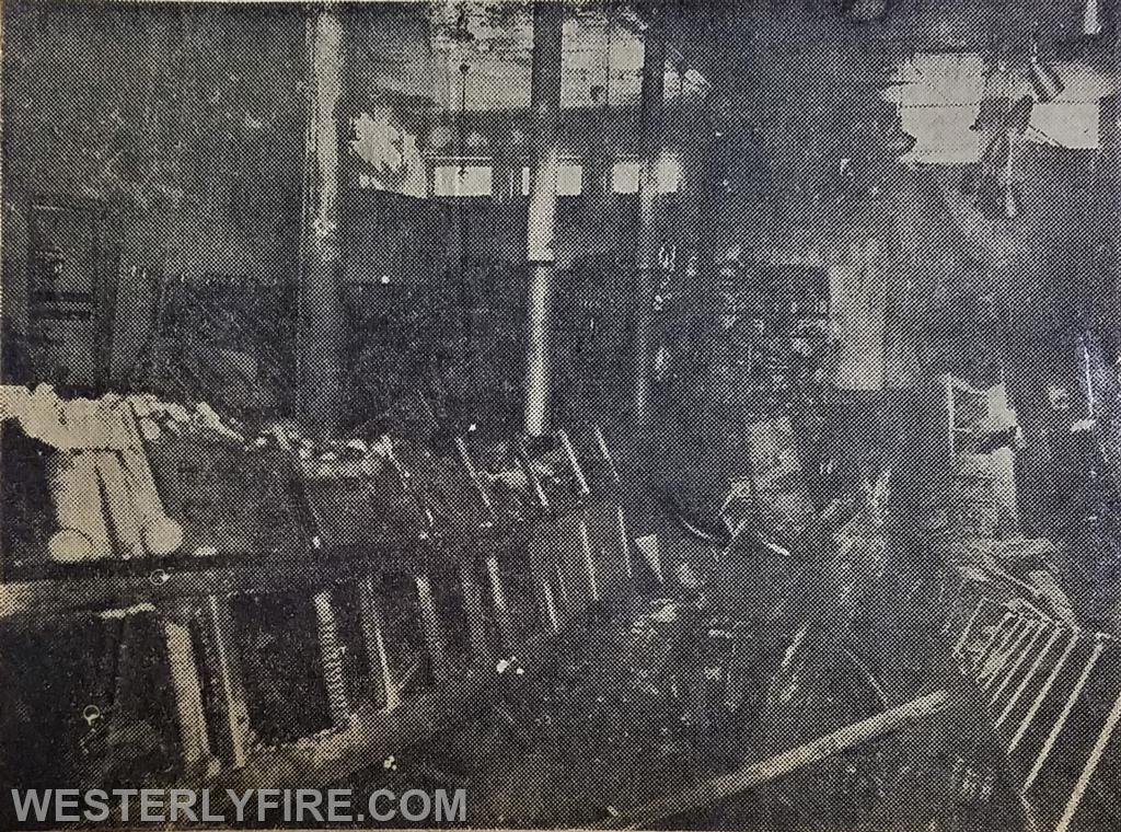 A view of the the interior damage to the Mohican Market in the Welch Building.