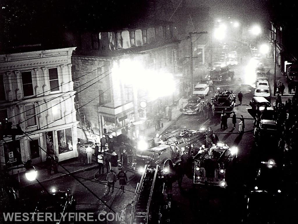 Box 3111-4-23-1964-Westerly, Pawcatuck and Dunn's Corners apparatus converge on the Majestic Hotel on High St.