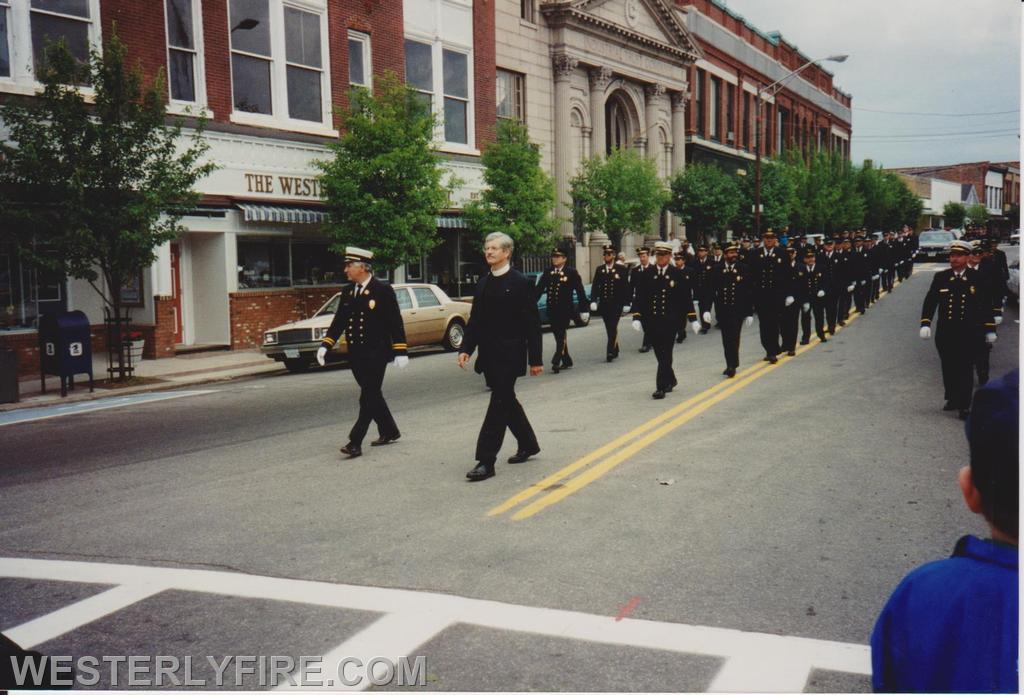 Chief Misto and Reverend Anthony followed by the Board of Engineers and the three Fire companies.