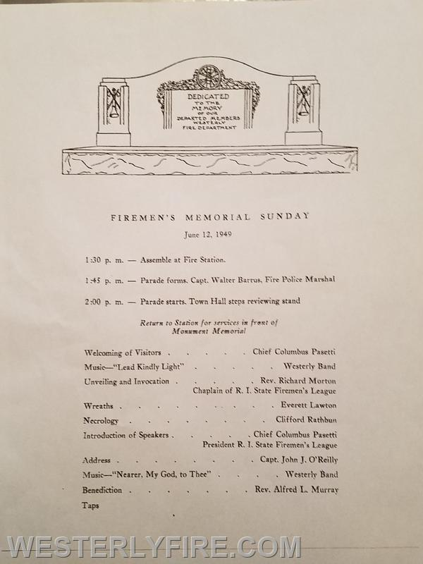The Program of the Dedication of the Memorial Monument on June 12, 1949.