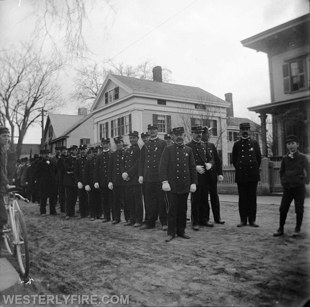 Firemen Line up for the first Firemen's Memorial Parade in 1899.