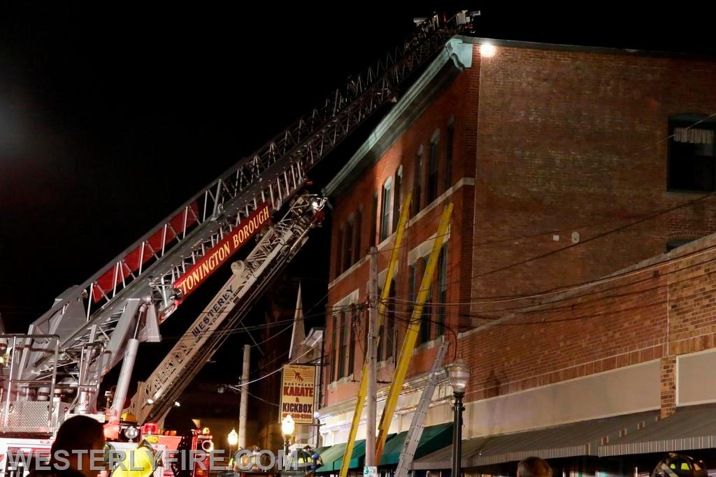 Box 322 June 23, 2014. Lombardo Building. Westerly and Stonington aerials work the front of the building.