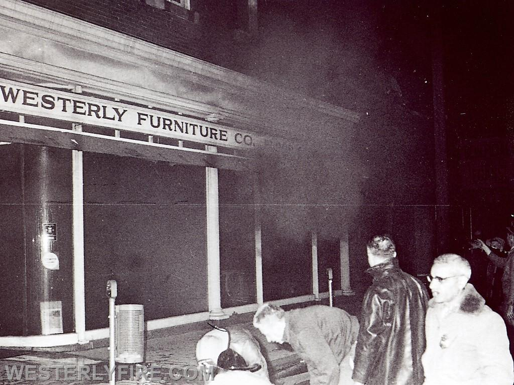 Box 3111 June 6, 1964. Westerly Furniture in the Lombardo Building. Photo taken moments before backdraft occurred.