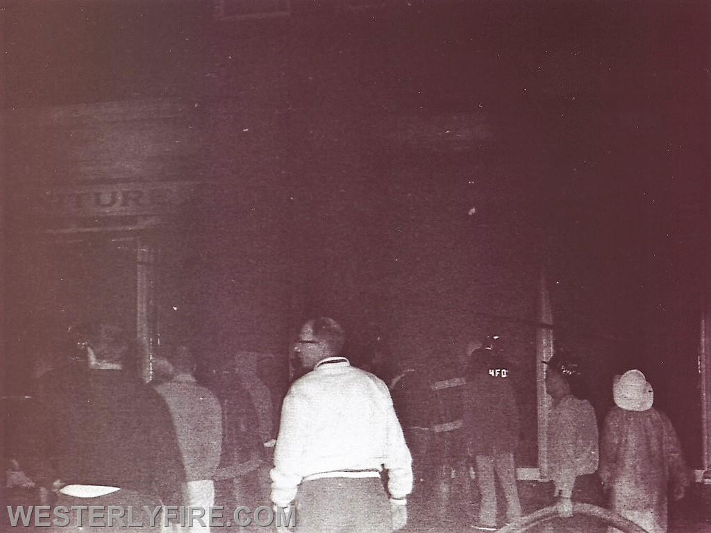 Box 3111 June 6, 1964. Westerly Furniture in the Lombardo Building. Smoke is thickening.