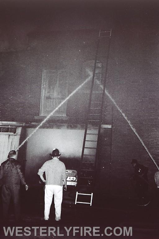 Box 3111 June 6, 1964. Westerly Furniture in the Lombardo Building. The rear where the trucks were stored and the fire began.