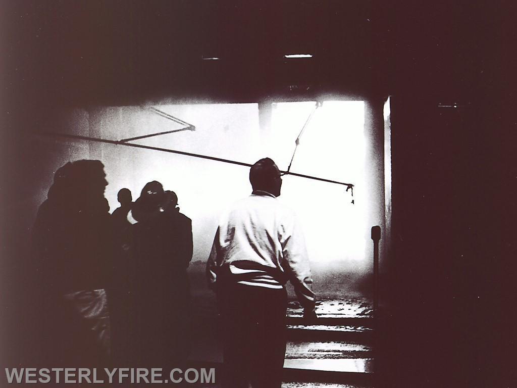 Box 3111 June 6, 1964. Westerly Furniture Firefighters prepare to darken down the fire.