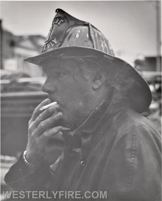 Box 1122 September 15, 1970. Fireman William McCormick of the Cyclone Engine Co.# 2 takes a break form battling the fire at the Dixon Square Building.