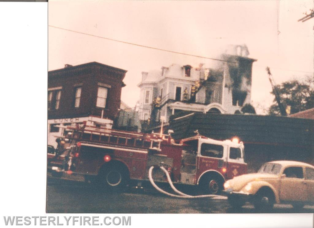 Box 3111-October 13, 1985-Engine 2 at Canal and Railroad feeding lines to the fire.