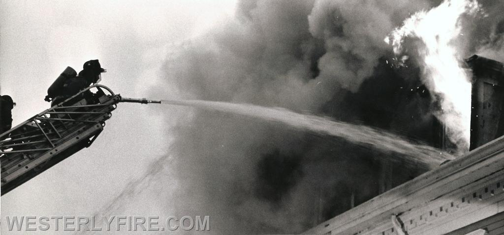 Box 3111-October 13, 1985-Close up view of Westerly Ladder 1 in action.