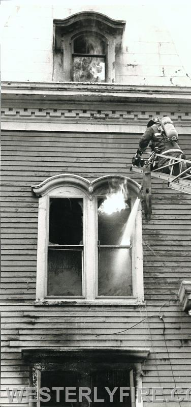 Box 3111-October 13, 1985-A birds eye view of Westerly Ladder 1 begins the attack.