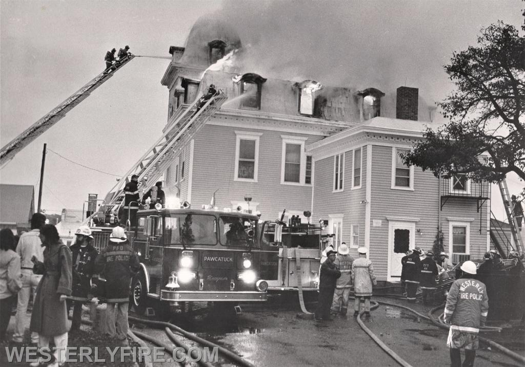 Box 3111-October 13, 1985-A view of the rear as Westerly and Pawcatuck's ladder trucks go to work on the fire.